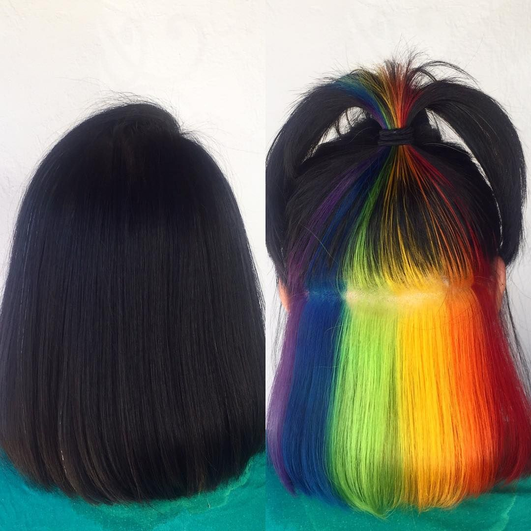 Incredible Rainbow Under Dye Bob Hair In 2019 Dyed