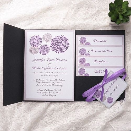 Purple Dandelion Black Pocket Wedding Invitation Kits Ewpi155 As Low 1 69