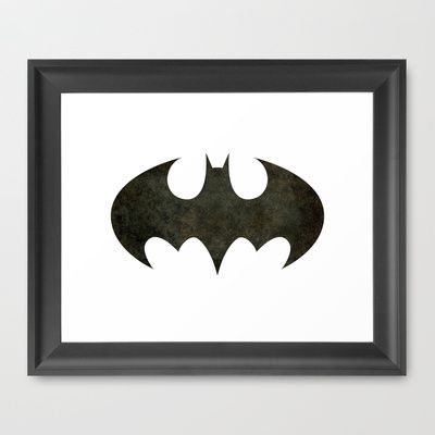 BATMAN, My Vintage Retro Version of the Iconic Batman Symbol Framed Art Print by Bruce Stanfield - $32.00