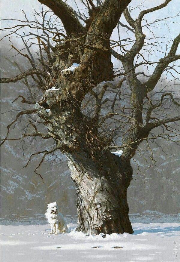백년의 비바람과 백년의 혹한 혹서를 격어 세월의 무늬를 가진 줄기와 가지들, 바윗돌을 피하기 위해 이리저리 휘어진 뿌리가 처참해 보이기까지 하지만 시골마을 어귀의 고목에서 아름다움 그 이상의 무엇이 느껴지는 것이 과연 화가 혼자일뿐일까.  고목, 162x112cm, oil on canvas, 박성열