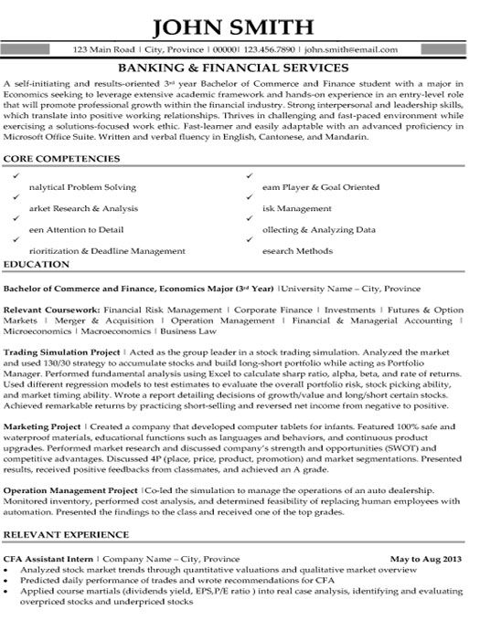 banking and financial services resume template