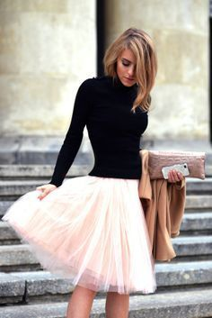 black knit and tulle