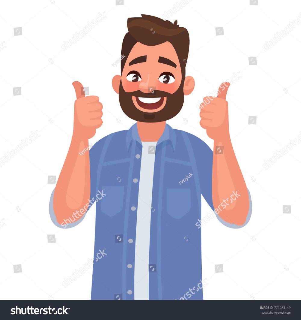 Happy Man Shows Gesture Cool Vector Illustration In Cartoon Style Cartoon Styles Vector Illustration Man Illustration
