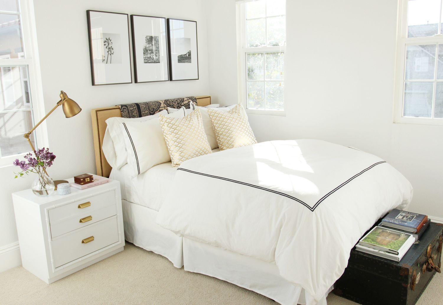 Master bedroom art above bed  Guest Room Revamp  Brass table lamps Burlap and Industrial