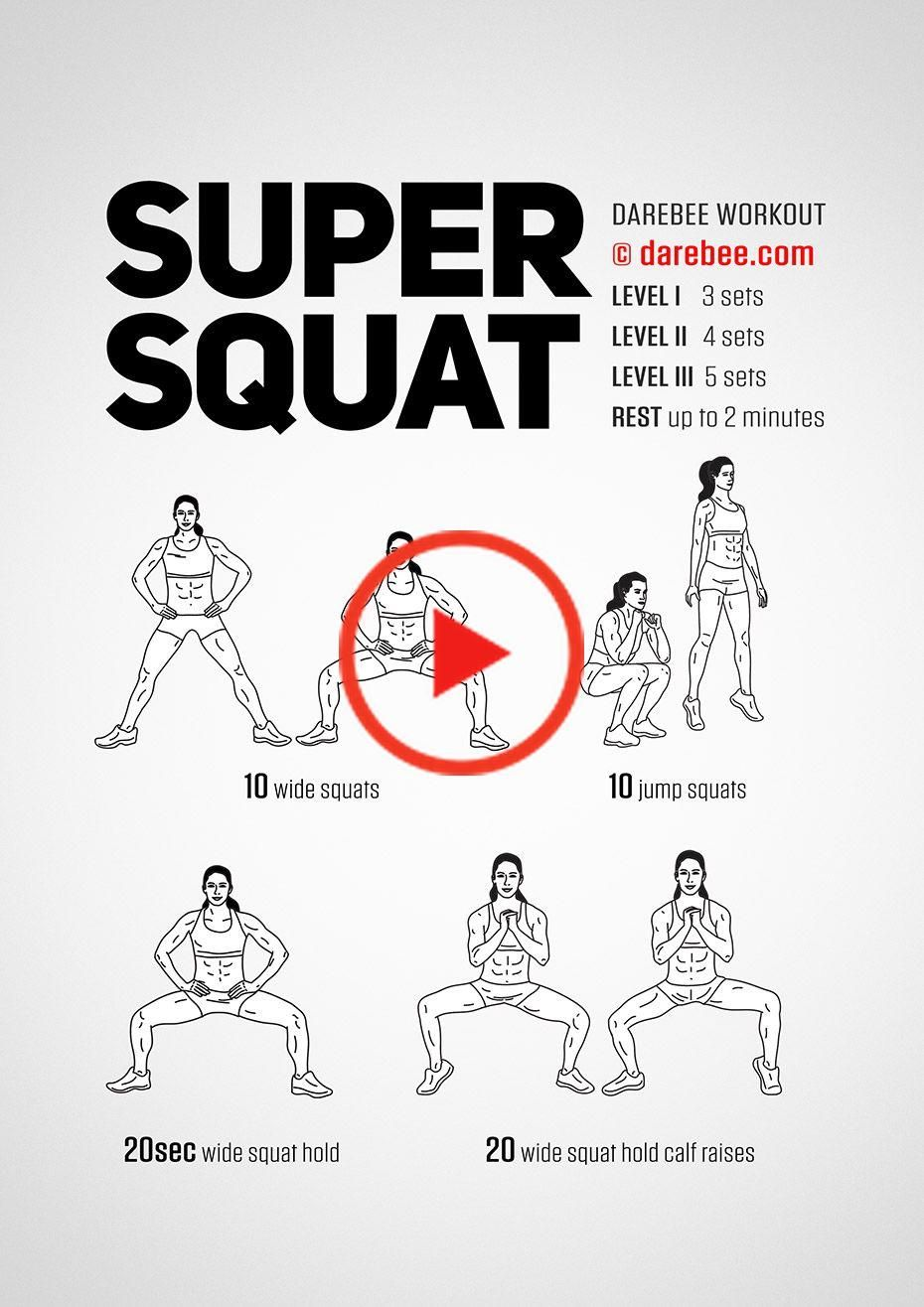 Super Squat Workout by DAREBEE #darebee #workout #fitness #glutes #squatchallenge