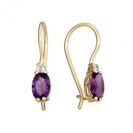 Mesmerizing 14k Gold Amethyst Diamond Earrings
