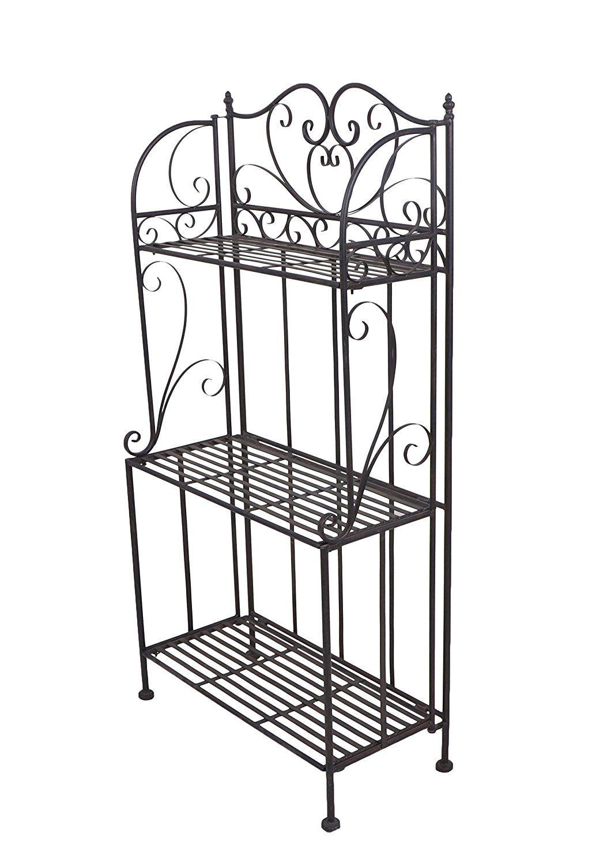 Black Freestanding Metal Scrollwork Design 3 Tier Plant Stand Home Storage Organizer Shelf Rack