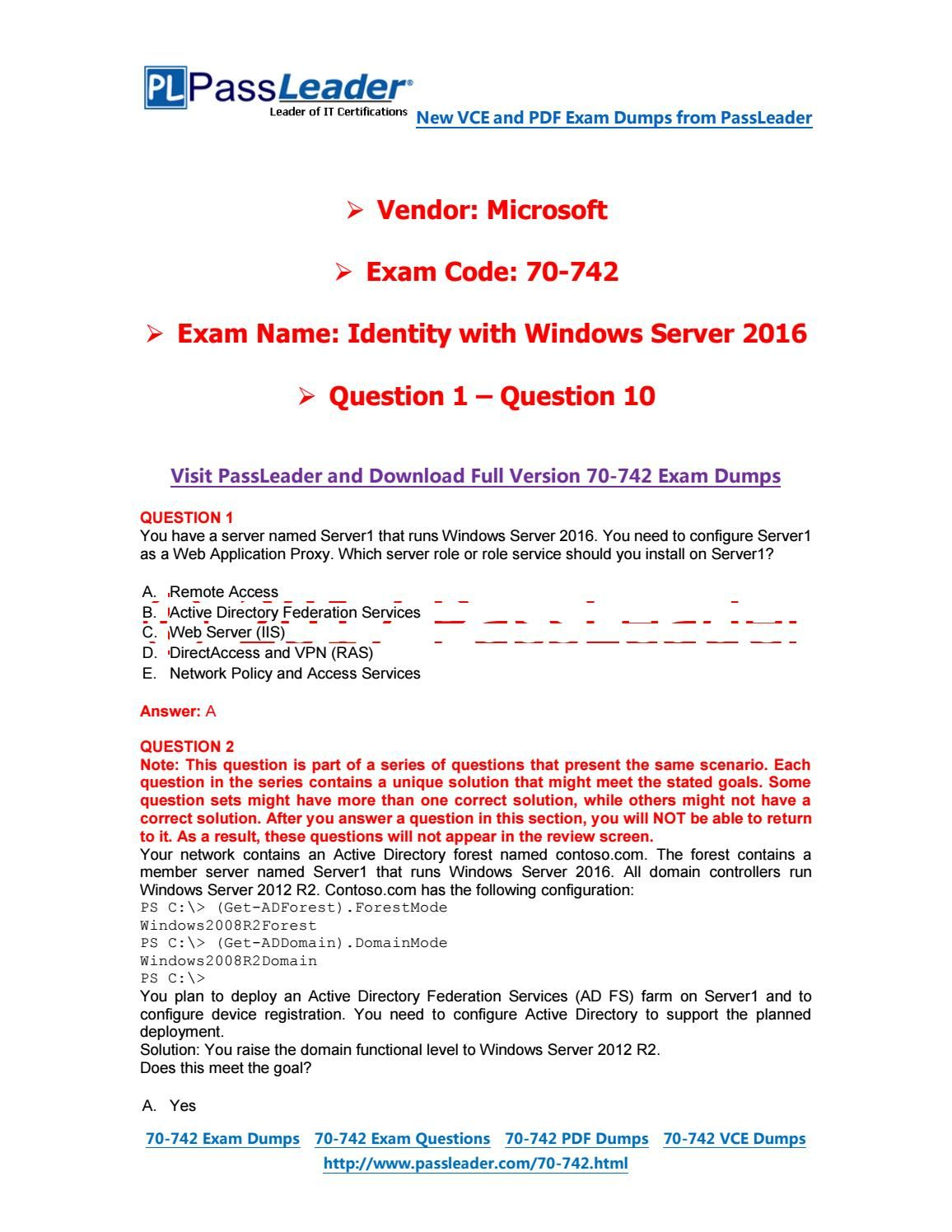 2017 PassLeader 70-<b>742</b> Dumps with VCE and PDF (Question 1 ...