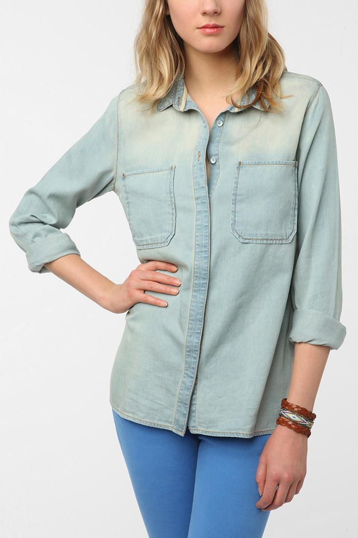 018de59f BDG Chambray Button-Down Tunic | wish list | Urban outfitters, Denim ...