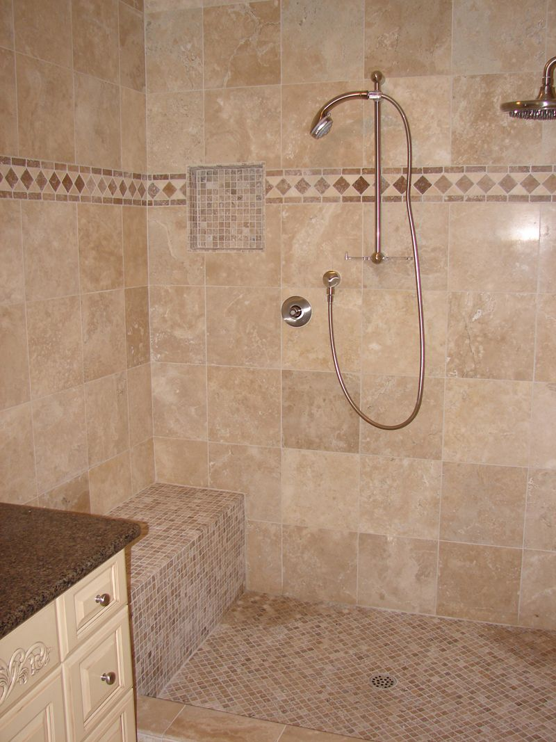 Captivating Bathroom With Open Shower Area Using Brown Stone Shower ...