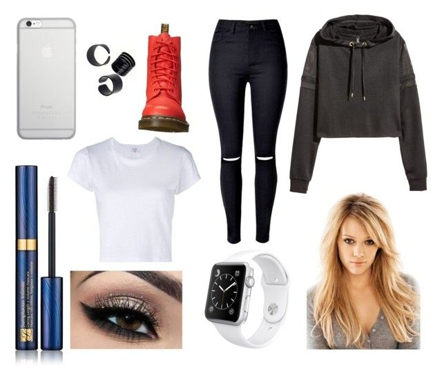 """""""Collecting my exam results"""" by hailey-smith-13 ❤ liked on Polyvore featuring Estée Lauder, RE/DONE, Native Union, Dr. Martens and Apple"""