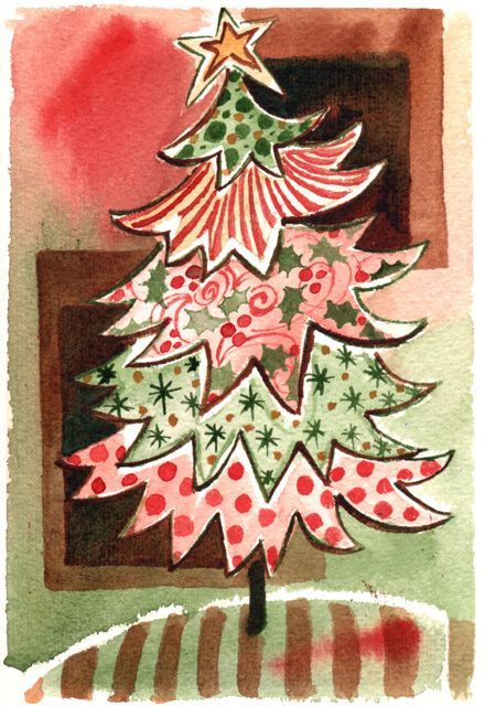 Christmas Tree Art, Wall Painting, Original Watercolor Painting