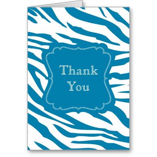 Aqua Blue Zebra Print thank you card