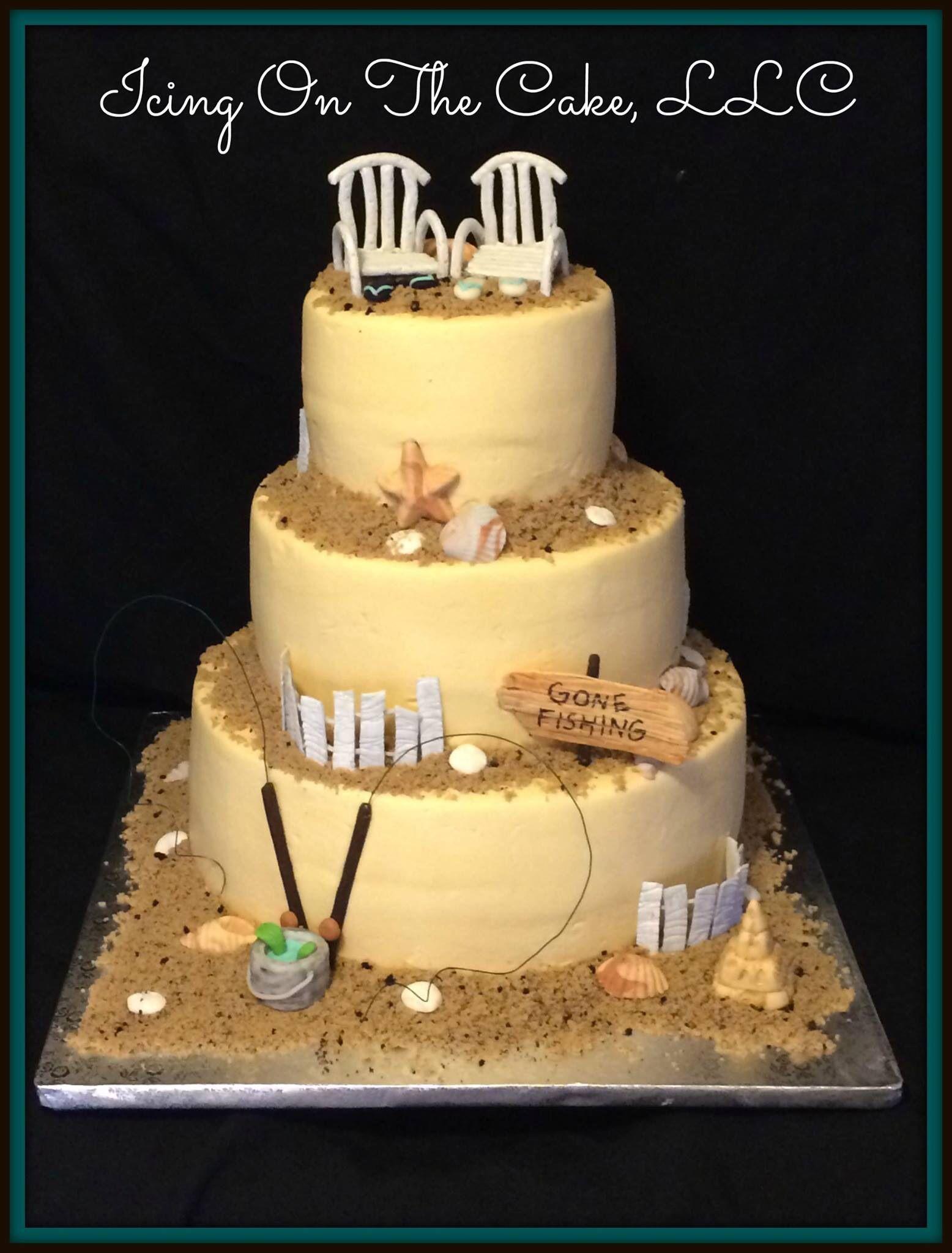 Beach theme wedding cake. Banana cake, chocolate cake with homemade ...