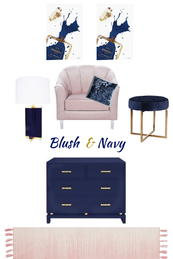Practical And Minimal Dusty Pink Navy Blue Home Decor With A
