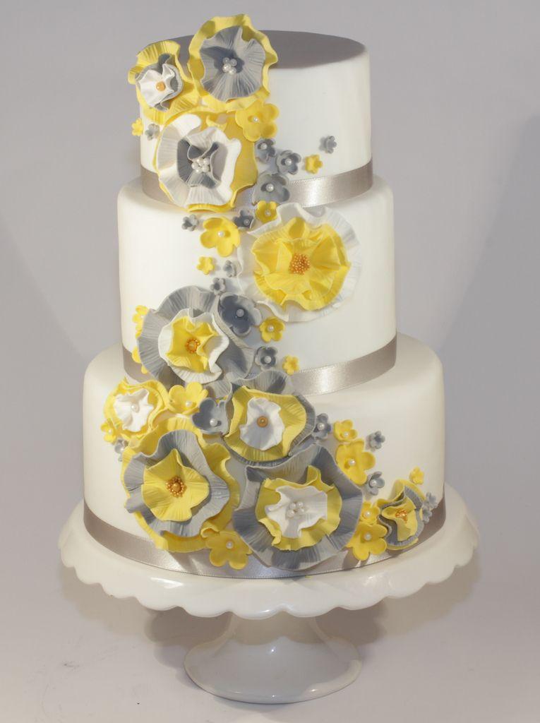 yellow & grey ruffle wedding cake   Cakes   Pinterest   Dummy cake ...