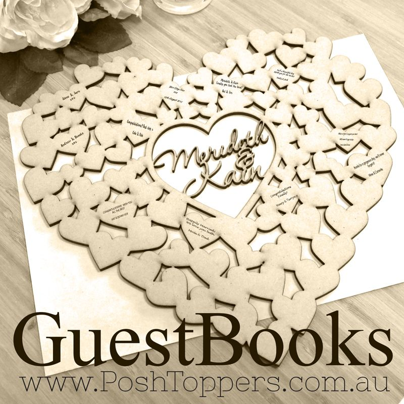 Cakes Favours Guest Books: Heart Shaped Guest Book - Custom Name/s Or Age