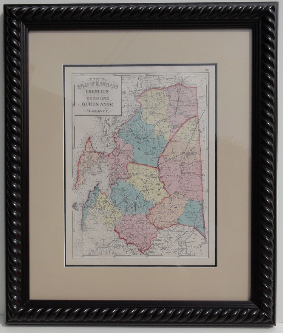 Hand colored lithograph of Maryland featuring Talbot