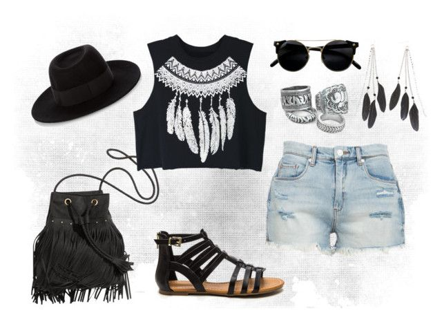 """""""Festival Look #1"""" by tamarahornes ❤ liked on Polyvore featuring WithChic, BLANKNYC, Maison Michel and Charlotte Russe"""