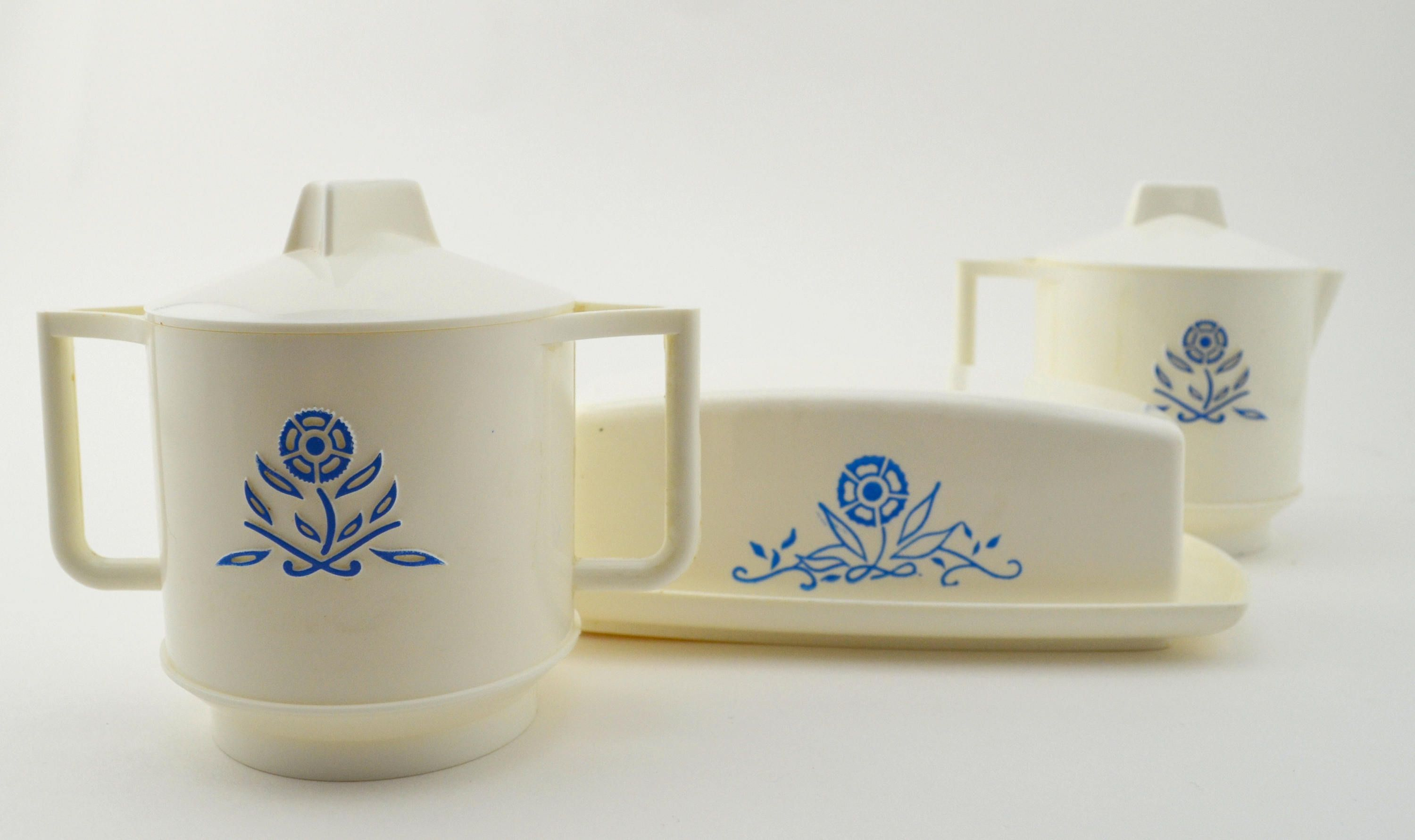 Vintage Play Dishes Creamer And Sugar Dish Covered Butter Dish