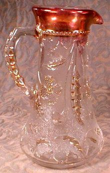 1899 pressed glass tankered style pitcher with ruby flash & gold trim
