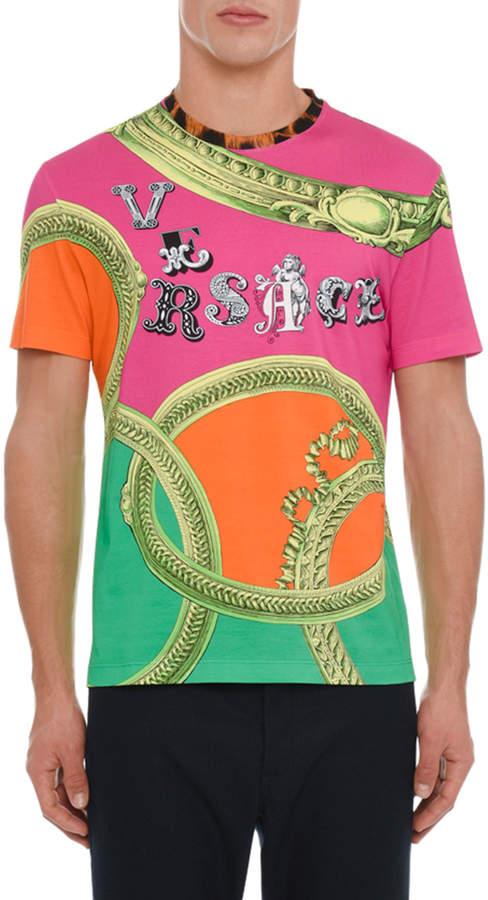 Versace Mens Graphic Logo Print T Shirt Versace Und Farben