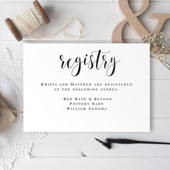 registry card inserts gift registry card template wedding enclosure
