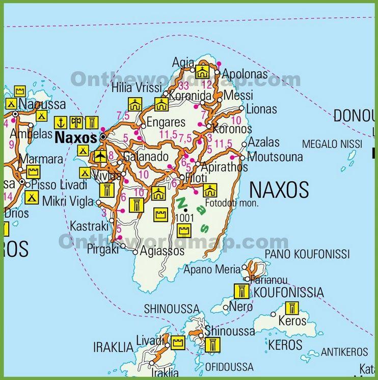 Naxos tourist map Maps Pinterest Tourist map and Greece islands