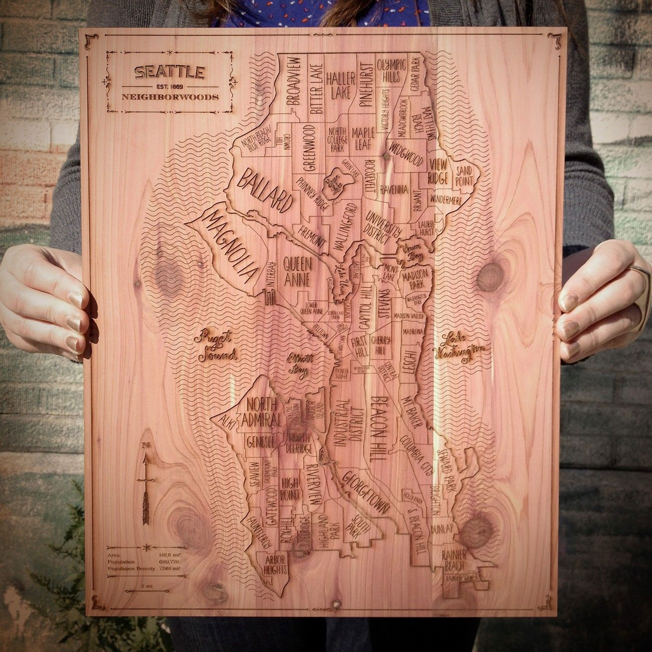 Map Of Paisley%0A Neighborwoods u     engraved cedar map makes a charming gift for anyone who  calls Seattle home sweet