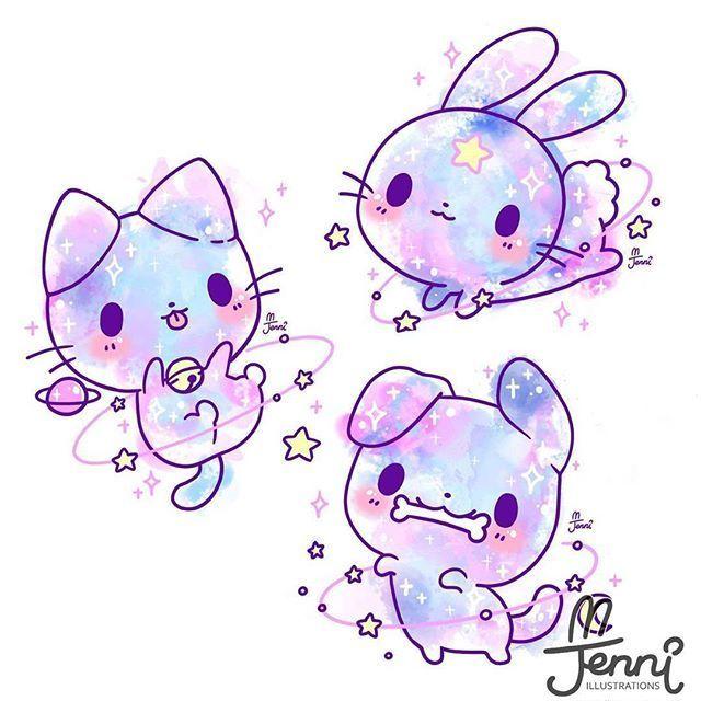 "�� J E N N I �� on Instagram: ""Sleeping Angel Kitty �� . . . #angel #pastel #galaxy #kitty #jenniilustrations #jennilustrations"""