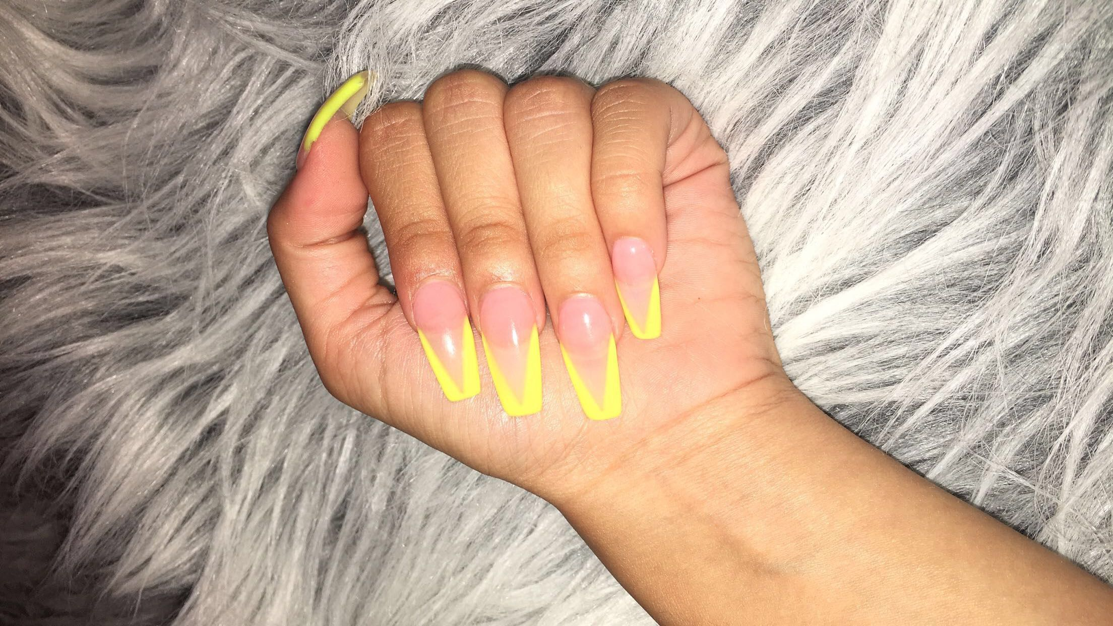 Neon Yellow Coffin Shape Acrylic Nails Classy Nails