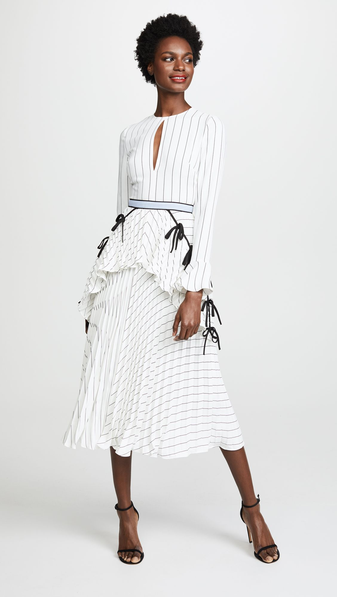 71eee0d4dab Self Portrait Monochrome Stripe Dress