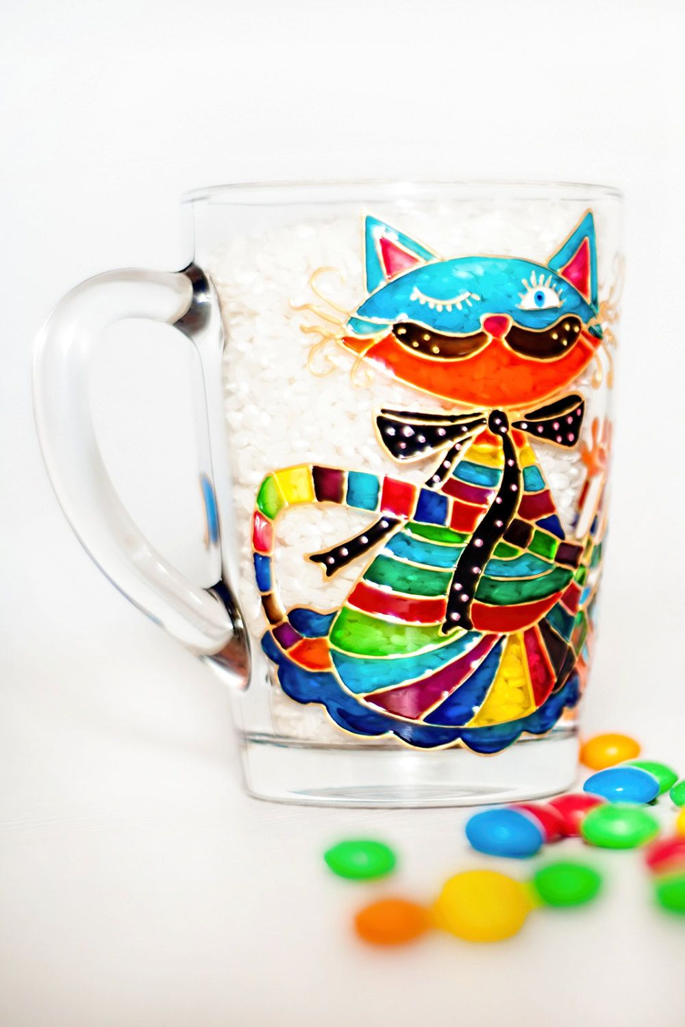dd4085122c9c Hand painted funny cat on the coffee/tea mug. This cute cat can be a  perfect gift for everyone! This cup can be personalized with the name or  initials.