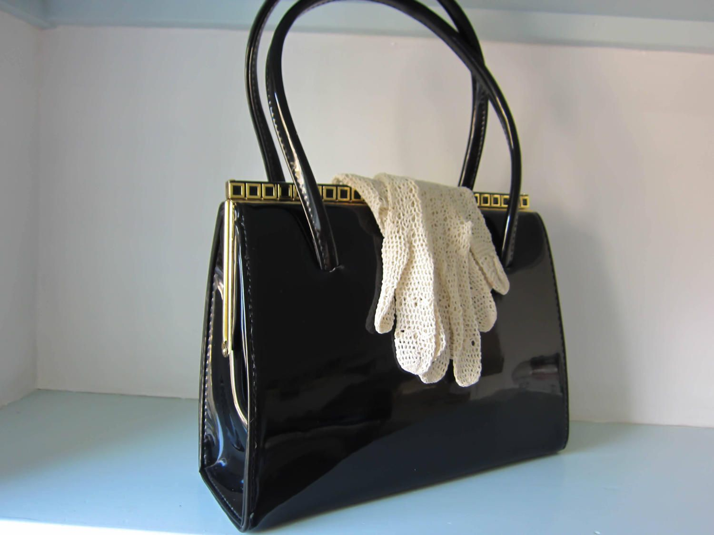 Vintage black leather bag, black patent leather bag, made in ...