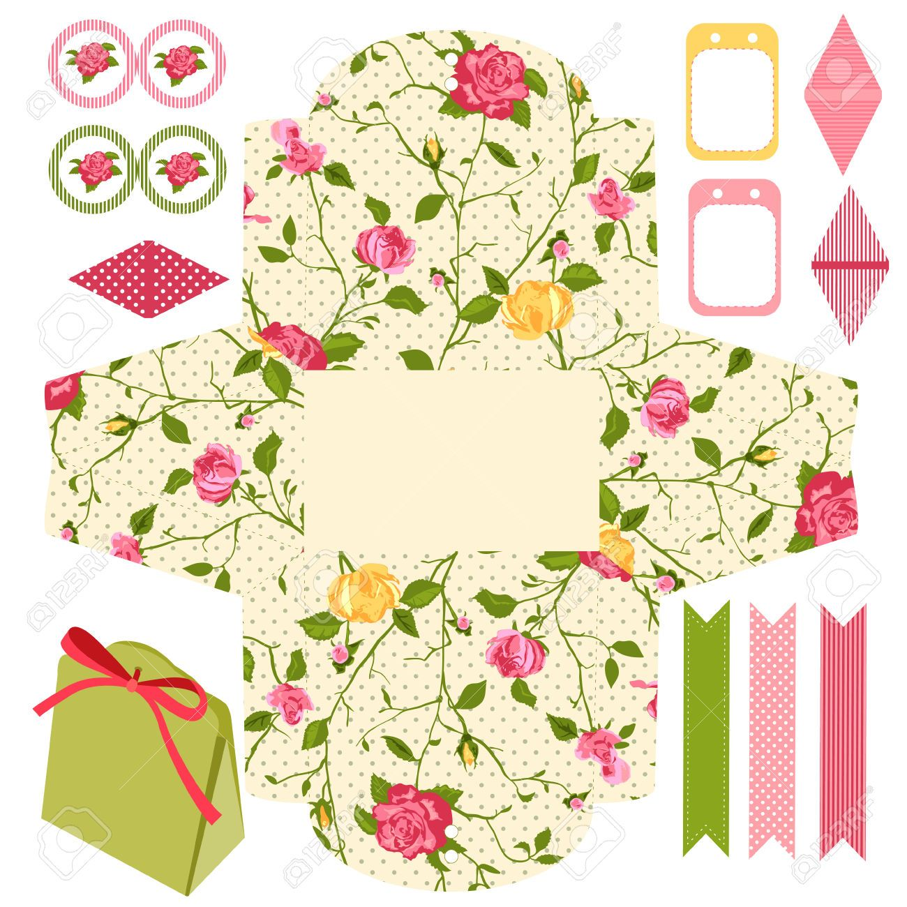 31501933-Party-Geschenk-Box-Vorlage-Abstract-floral-Shabby-Chic ...