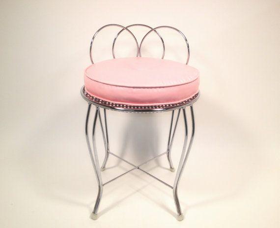 Mid-Century Metal Vanity Chair with Pink Cushion / Vintage 1960\'s