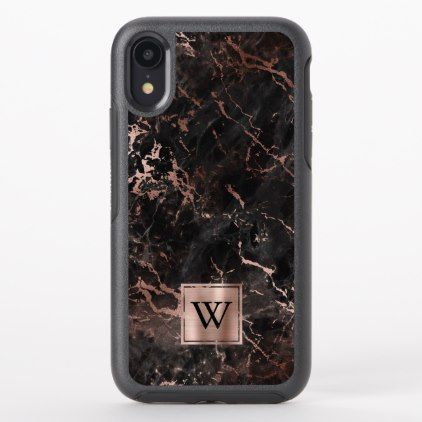 Black Marble Texture Rose Gold Monogram OtterBox iPhone Case | Zazzle.com #marbletexture