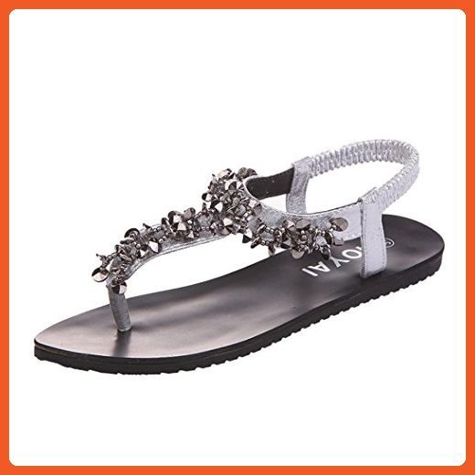 Summer Sandals Inkach Women Flat Shoes Bead Bohemia Sandals Peep-Toe Leisure Lady Outdoor Shoes