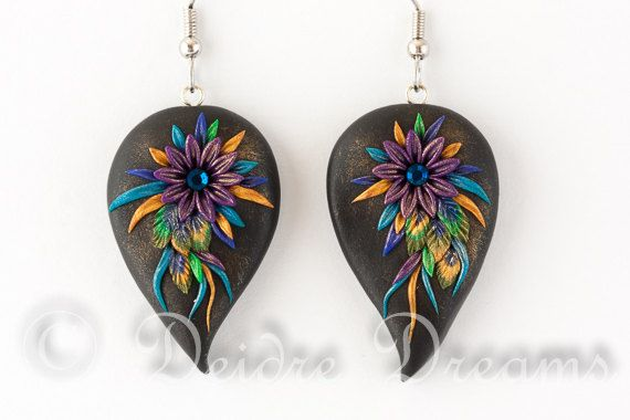 Peacock Feather Earrings Flower Earrings Hippie by DeidreDreams, $50.00
