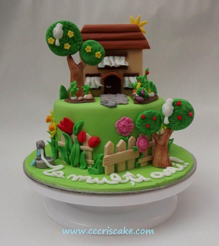 House and garden cake