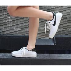 Marlee Sepatu Sneaker Putih Strap Hitam Sepatu Kets Sepatu Hitam