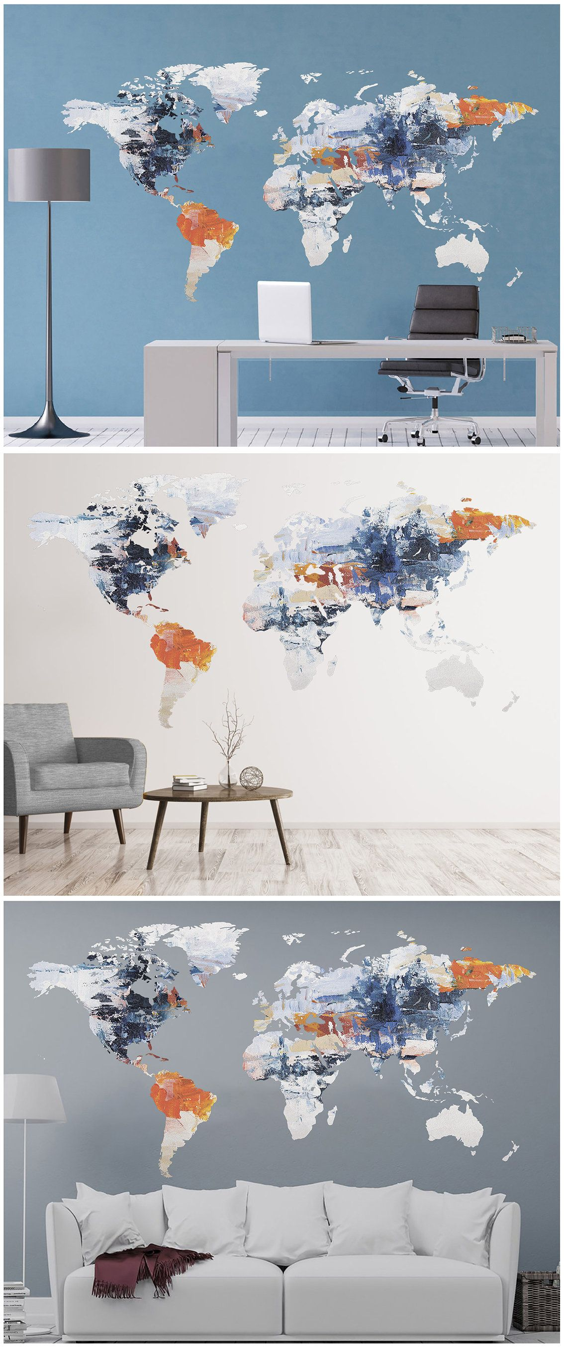 Abstract Wall Art Modern Wall Decor World Map Decal Tender Art Large Abstract Map Push Pin World Map Home Wall Art Vinyl Poster Prints Decal With Images Modern Wall Decor Vinyl