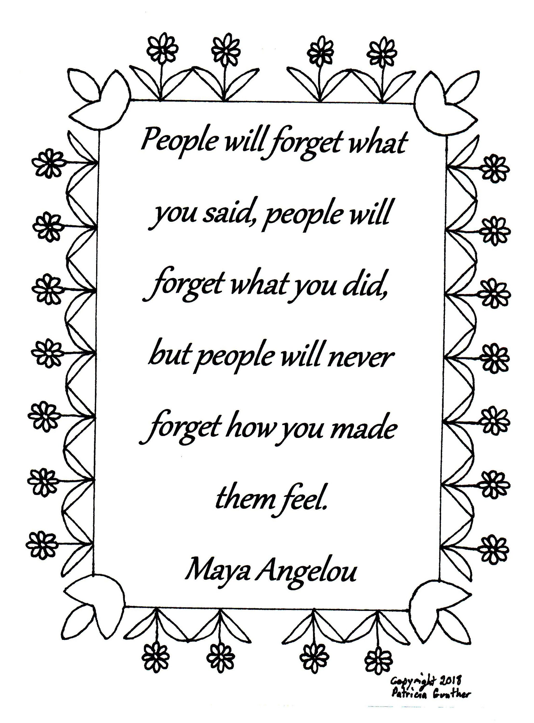 People Will Forget What You Said Maya Angelou Quote Coloring Page