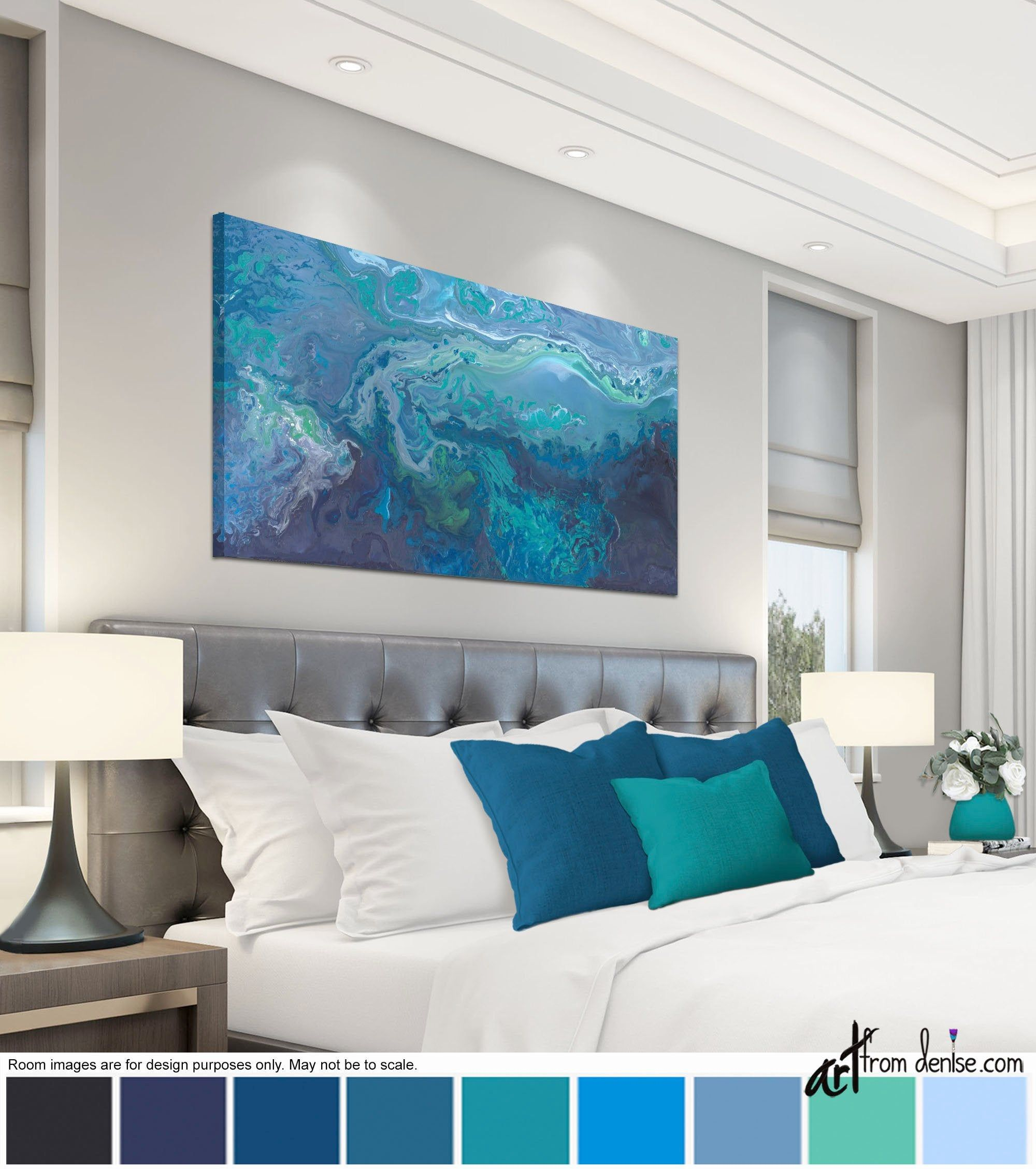 Blue Gray And Teal Wall Art Canvas Abstract Long Horizontal Etsy In 2020 Bed Decor Art Over Couch Dining Room Artwork