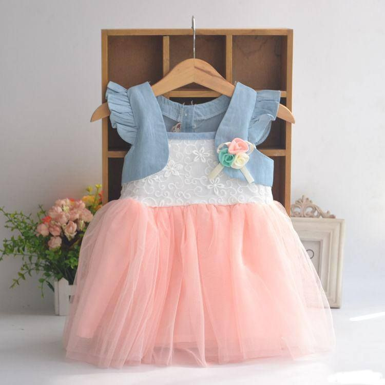 Denim Look Baby Girl Party Dress | Baby Dress - Fbargainsgalore.co ...