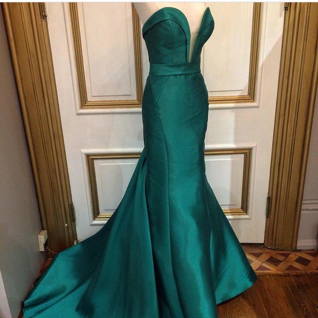 Emerald green satin long sweetheart prom dresses mermaid fashion
