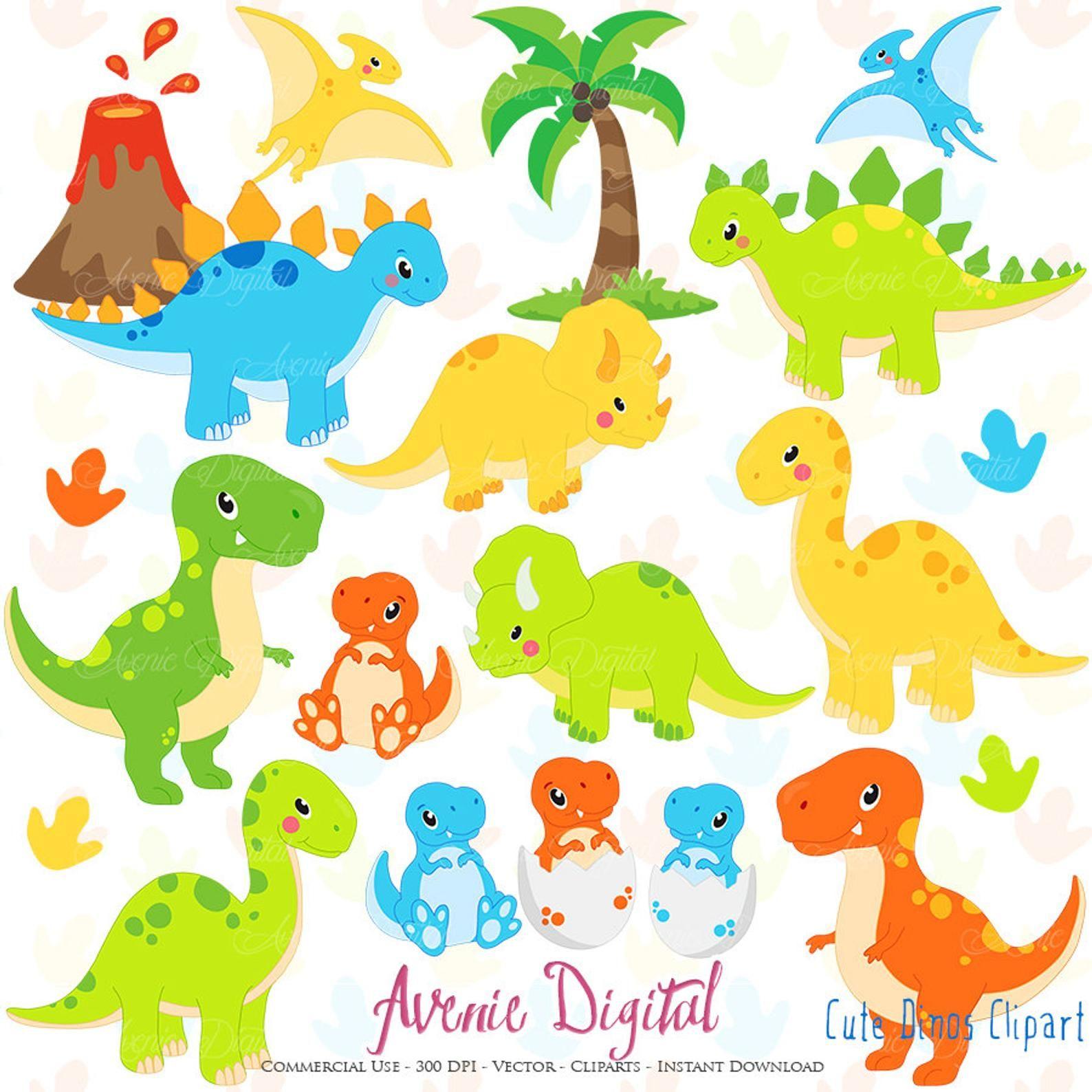Cute Dinos Clipart Scrapbook Printable Dinosaur Clip Art Etsy Dinosaur Clip Art Dinosaur Pictures Dinosaur Images