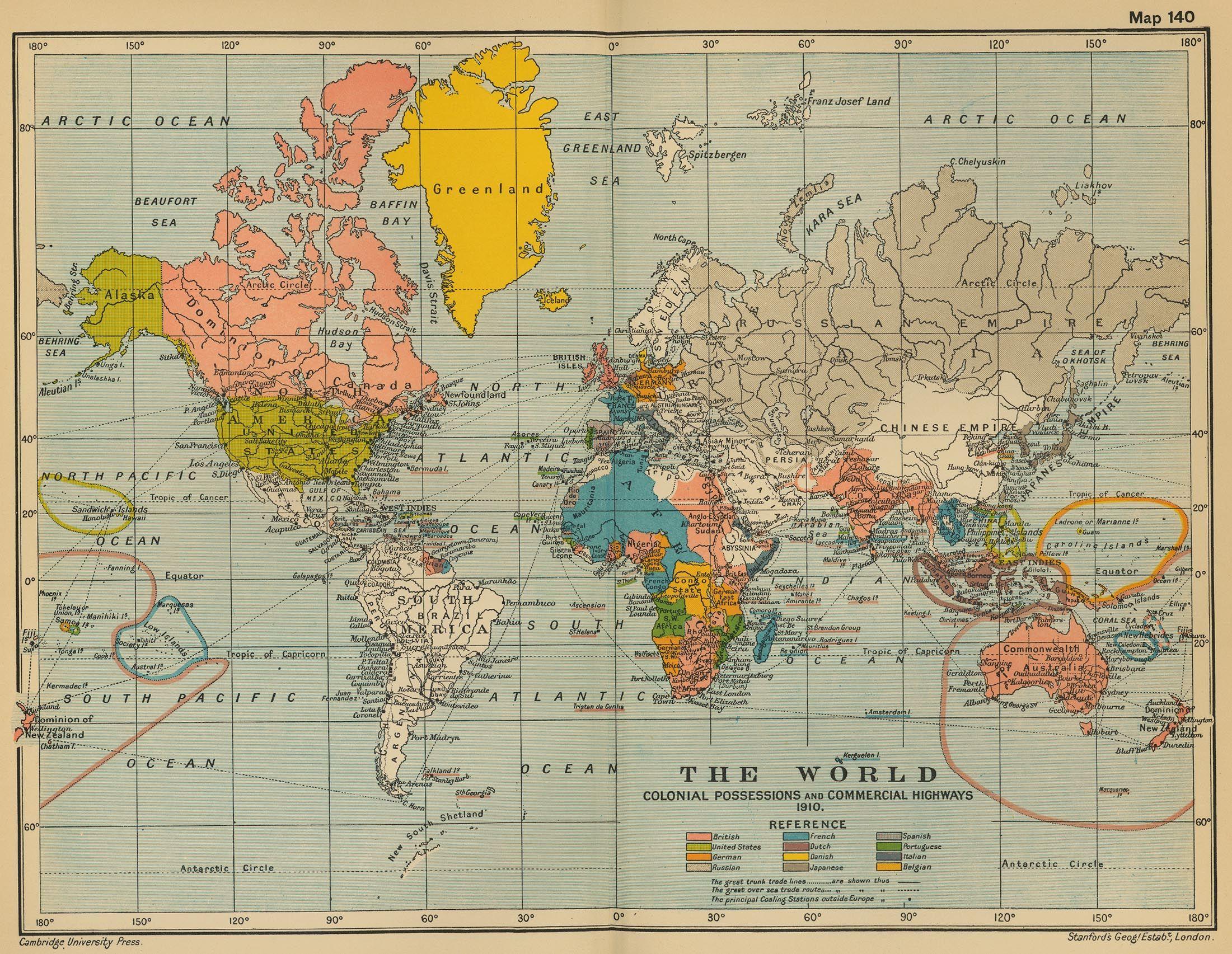 History World Map 1910.