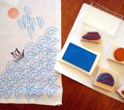 DIY rubber stamping fabrics