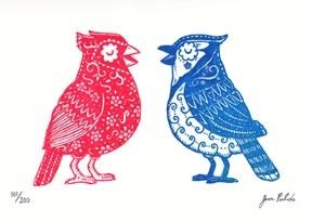 "This is a limited edition Gocco screenprint titled Los Pajaros. It is a 2 color print on a 5"" x 7""(13cm x 18cm) sheet of Coventry Rag Paper, great for framing. Printed with Red and Blue Ink. Limited Edition of 200 prints. Each one is printed by hand so they are all unique and may have slight variations. Signed and numbered."